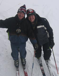 Kendall & Dad skiing