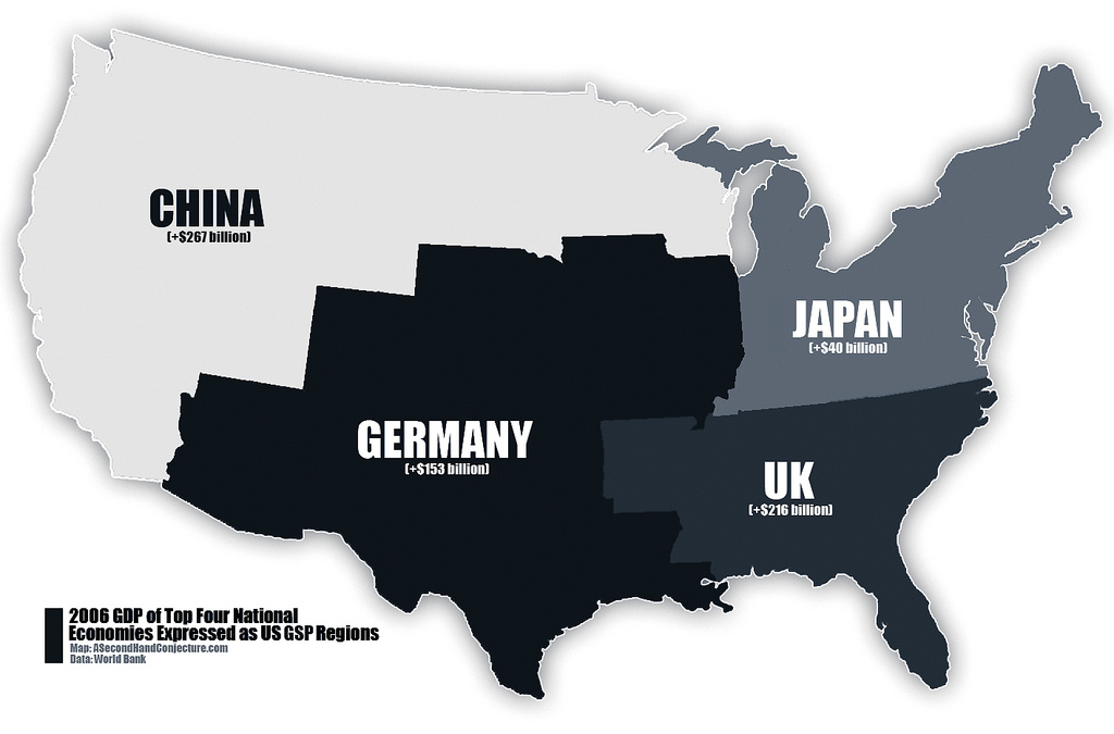 The Size of the US Economy vs China, Germany, and the UK